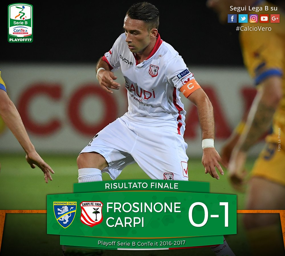 Play-off Serie B, incredibile Carpi in finale: vince in 9 uomini 0-1 a Frosinone