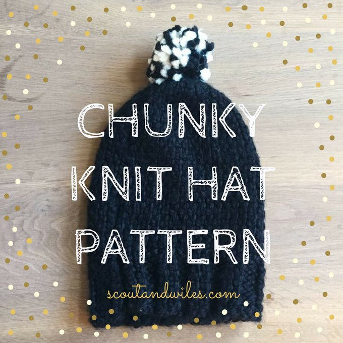 Easy Slouchy Chunky Knit Hat Pattern with Pom Pom Tutorial — Scout & Wiles