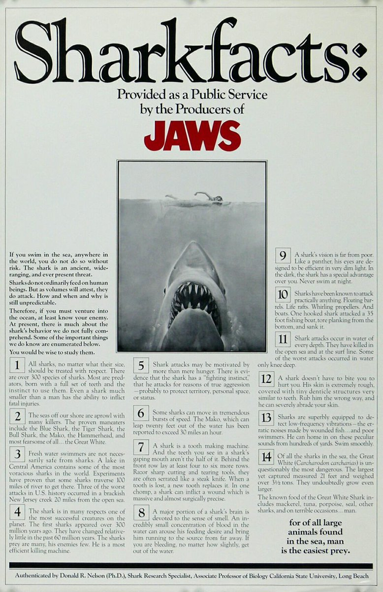 #SharkFacts created to help promote #JAWS back in 1975  #shark #facts #movie #film #classic<br>http://pic.twitter.com/6Z02KTaU0L