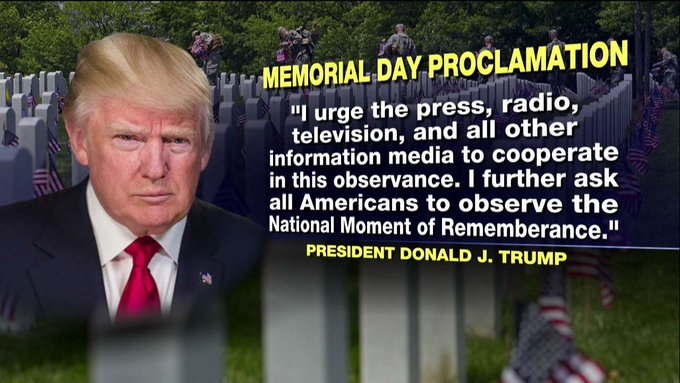 President Trump proclaims Memorial Day 2017 as a day of  'Prayer for Permanent Peace' https://t.co/tewxKT6EO7