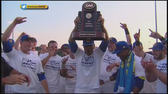 Go #BlueHens! CAA Champions @DelawareBASE headed to Texas for NCAA Tournament  https://t.co/60Ry3VVuG9