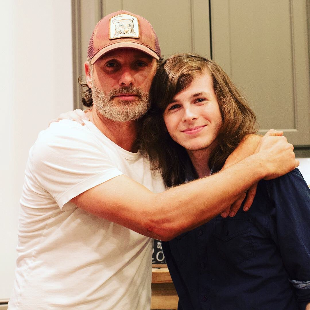 Andrew Lincoln surprises Chandler Riggs at his graduation party   = @ginaannriggs #TWD #AndrewLincoln #ChandlerRiggs #classof2017 #grad<br>http://pic.twitter.com/8mjsB9J7E9