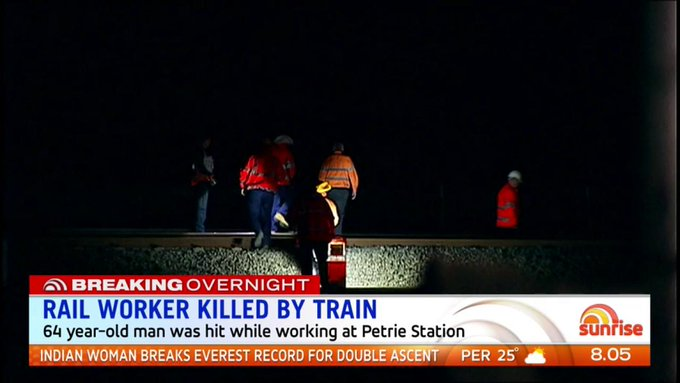A rail worker has died after being hit by a train at Petrie Station overnight. https://t.co/SUSgt5yLTl #7News