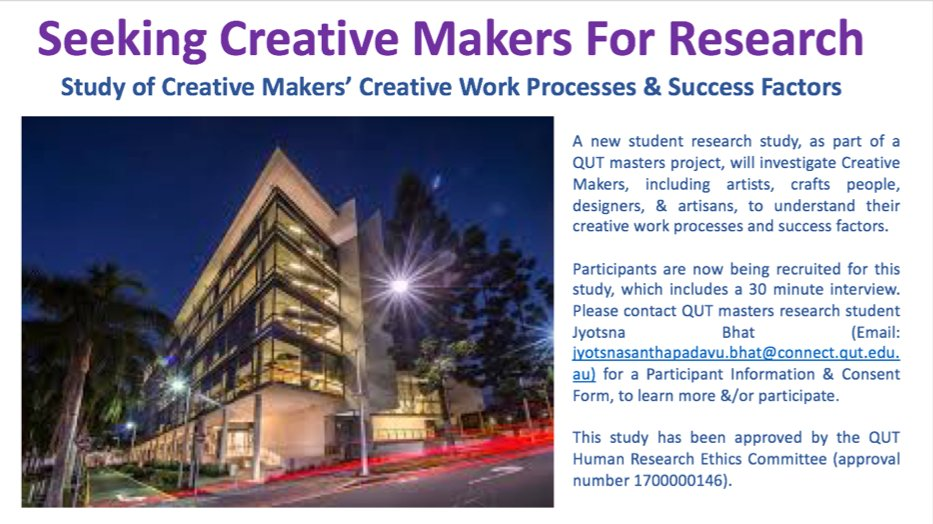 Hello #Creative #Makers! We&#39;d  if you&#39;d participate in student #research. Please email for. #Makerspace #Artist #Craft #Artisan #Designer<br>http://pic.twitter.com/4LLL1h8BwV