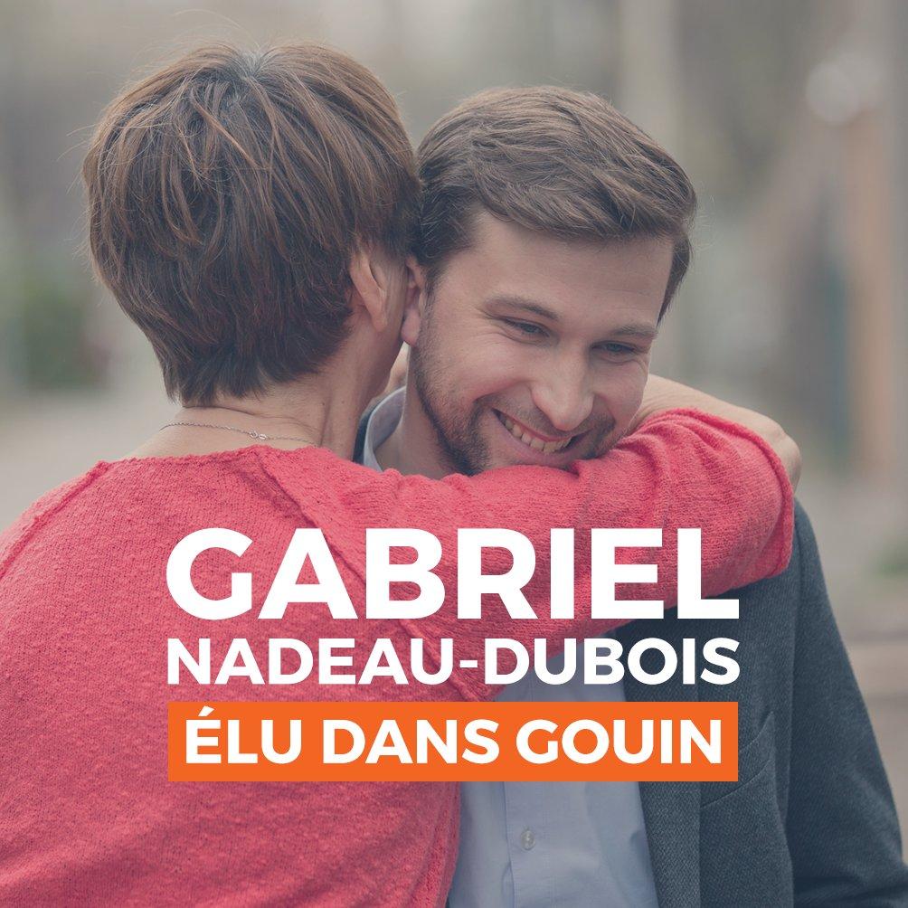 VICTOIRE! ❤️❤️❤️ Gabriel Nadeau-Dubois, élu député de Gouin! MERCI aux électeurs et électrices pour leur appui! #polqc #assnat