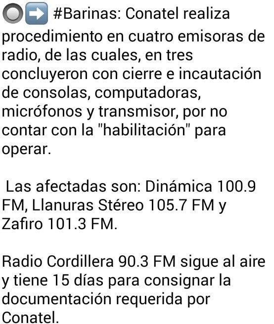#29May #Barinas Conatel cierra 3 emisoras de radio y les incauta sus equipos de transmisión, sonido y computadoras #Venezuela - @Obeysser
