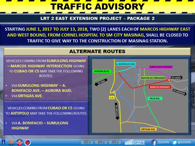 Two lanes at Marcos Highway to be closed June 1 to July 13 to give way to the construction of two additional LRT2 stations. | @jacquemanabat