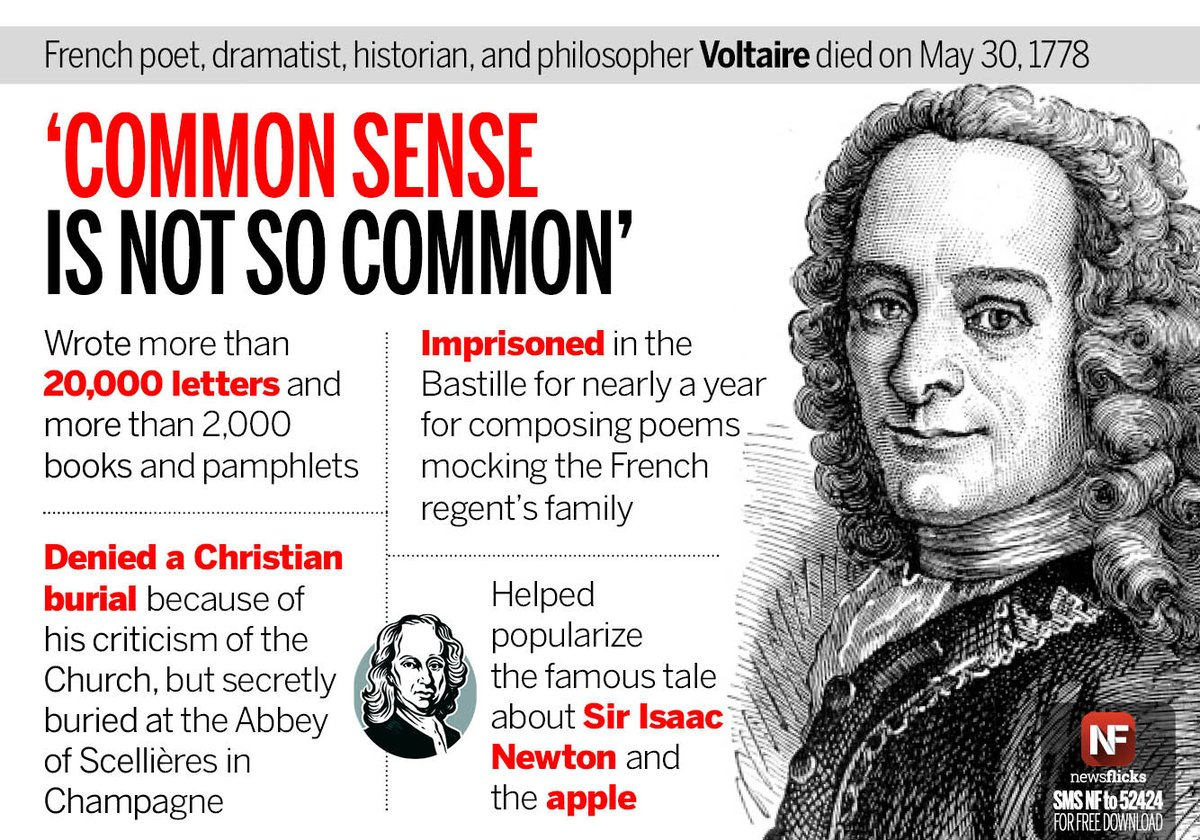 #Voltaire, the #French philosopher famous for his wit, died on May 30, 1778 <br>http://pic.twitter.com/RSqZjLOWf6 @newsflicks #OnThisDay