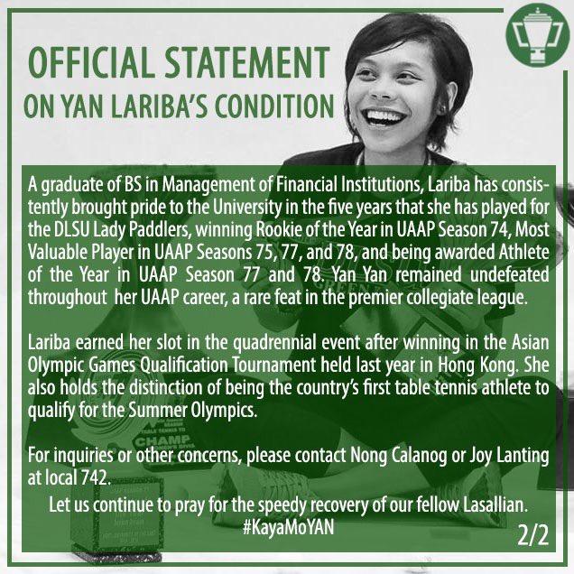 Tiebreaker Times Lariba looks to 'stay undefeated' DLSU News Table Tennis UAAP  Ian Lariba DLSU Women's Table Tennis