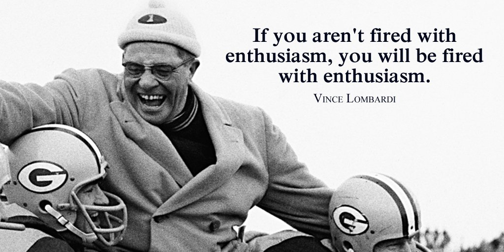 If you aren&#39;t fired with enthusiasm, you will be fired with enthusiasm.  - Vince Lombardi #quote #TuesdayMotivation<br>http://pic.twitter.com/uFZiVIZlCI