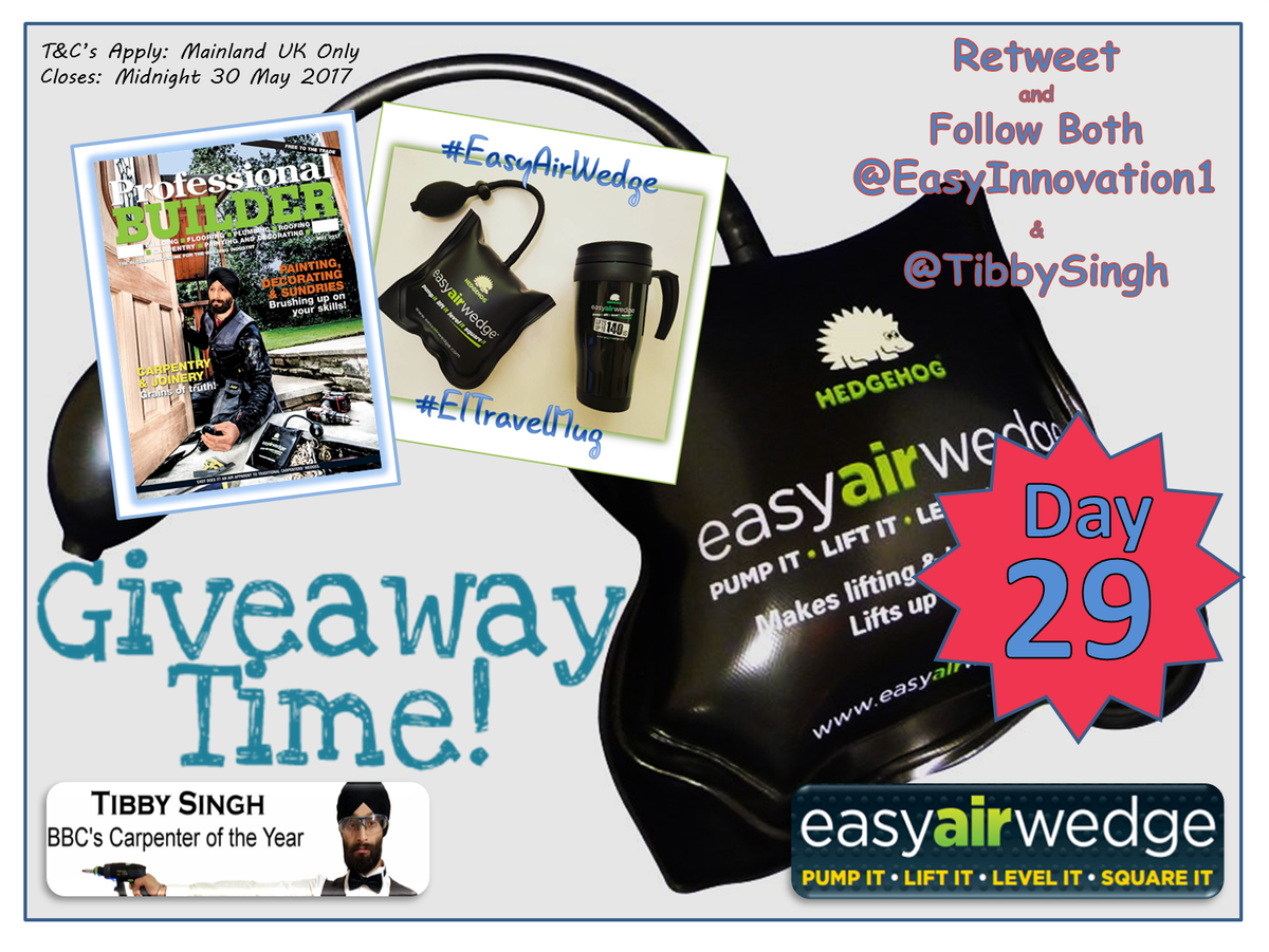 It&#39;s #Giveaway May - Day 29! #RT &amp; Flw Us &amp; @TibbySingh for your chance to #WIN a #EasyAirWedge or #EITravelMug. Ends midnight tonight.<br>http://pic.twitter.com/2TEm1ymGi7