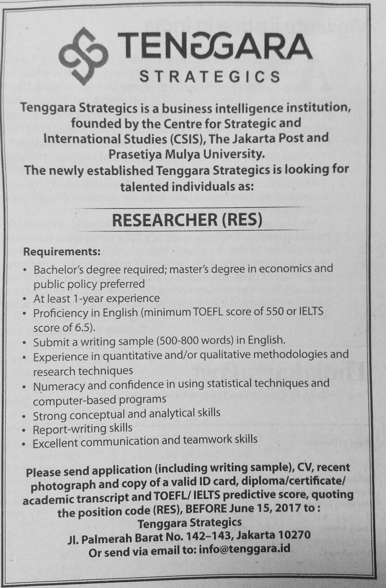 Tenggara Strategics, a business intelligence firm we co-founded, is looking to hire #publicpolicy #researchers. See details  <br>http://pic.twitter.com/c8J2sPHepz