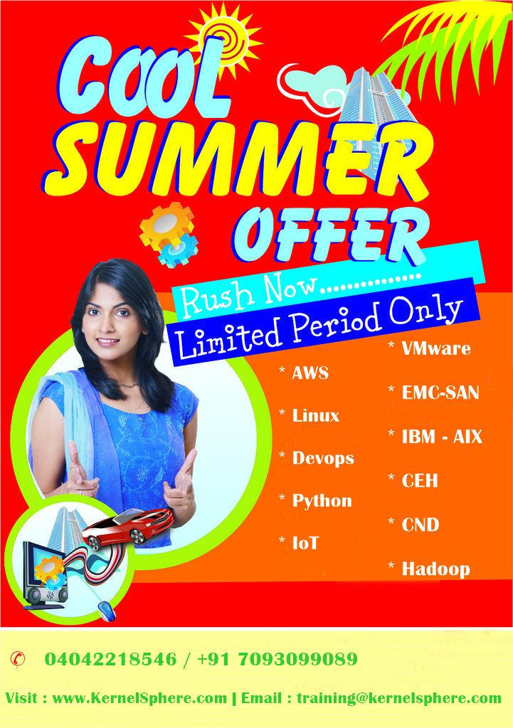 #KernelSphereTechnologies providing #CoolSummerOffers for #Courses. We are providing both #Online and #Offline training courses.<br>http://pic.twitter.com/lDsMUOB4aO