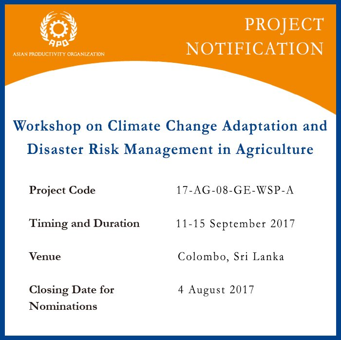 Theaponews On Twitter Workshop On Climate Change Adaptation Disaster Risk Management In Agriculture Is From 11 15 Sept 2017 Know More Https T Co Y5mmwangd2 Https T Co Vgji3jjont