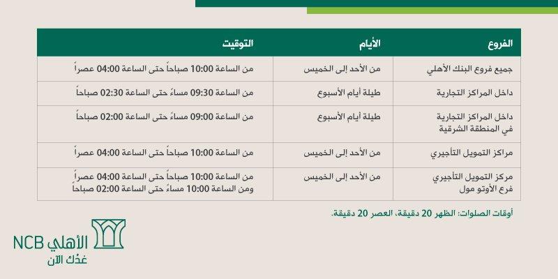 البنك الأهلي السعودي Auf Twitter دوام عمل فروع البنك الأهلي خلال شهر رمضان المبارك