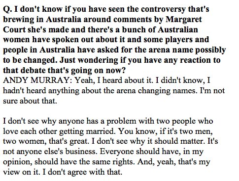@andy_murray on Margaret Court controversy and gay marriage:  #RG17 https://t.co/UaCExPNrg5