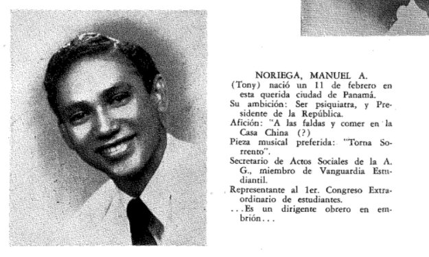Manuel Noriega's yearbook entry, courtesy of a classmate, my dad ... https://t.co/3sjr7p7SSR