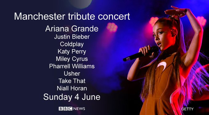 Ariana Grande to perform benefit concert at Emirates Old Trafford Cricket Ground for victims of Manchester attack https://t.co/Kau8fPgcew
