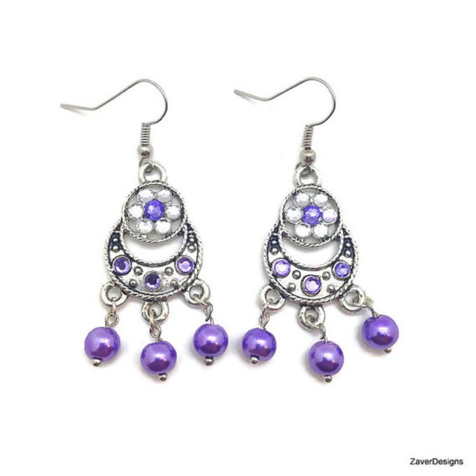 Purple Chandelier Earrings, Purple Earrings, Lilac Earrings, Violet Earrings, Purple Pearl Earrings, Plum Earrings, Pearl Chandelier Earring