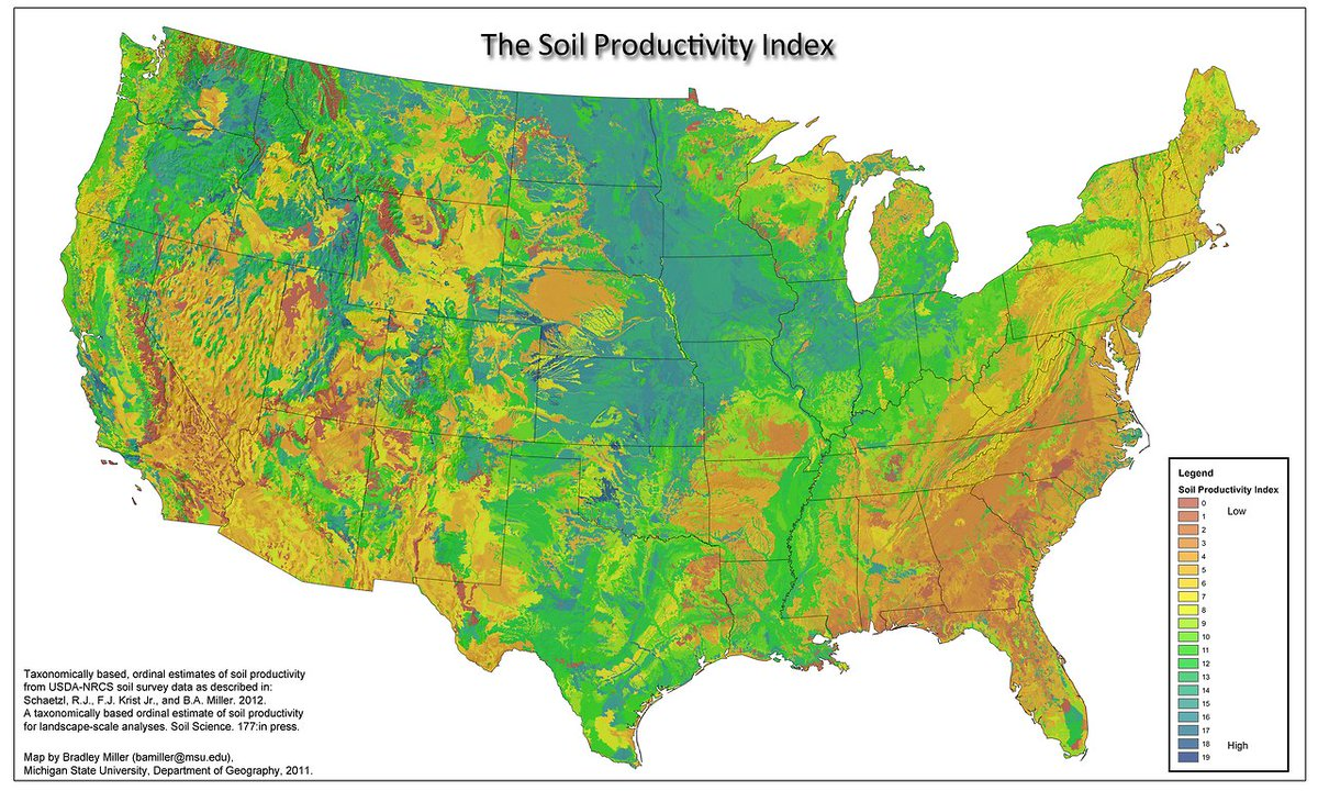 Todd Klassy On Twitter Soil Productivity Of The United States - Agriculture by state us map