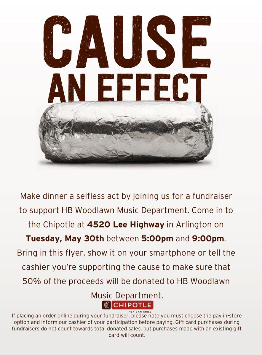 Dinner <a target='_blank' href='http://twitter.com/chipotle'>@chipotle</a> tonight - 5-9 pm - let them know you're supporting HBW Music!  Thanks! <a target='_blank' href='https://t.co/GH920Odlvh'>https://t.co/GH920Odlvh</a>
