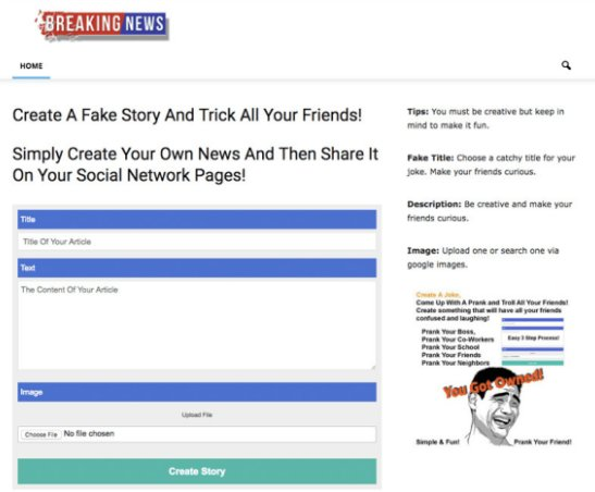 Sites Are Now Offering Templates Where You Create Your Own Fake News Story Publish It And Circulate On Facebook
