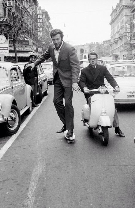 What a photograph !! Clint Eastwood on a skateboard, Happy Birthday to a Film Icon born on this day in 1930.