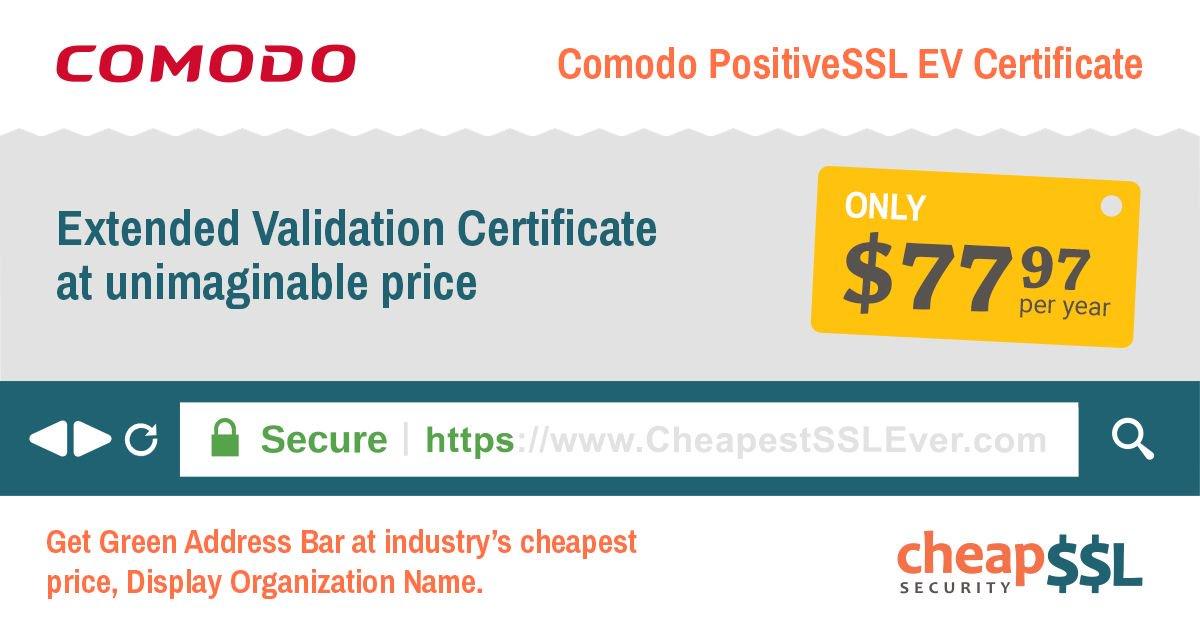 Cheapsslsecurity On Twitter Comodo Ev Ssl Certificate At 77