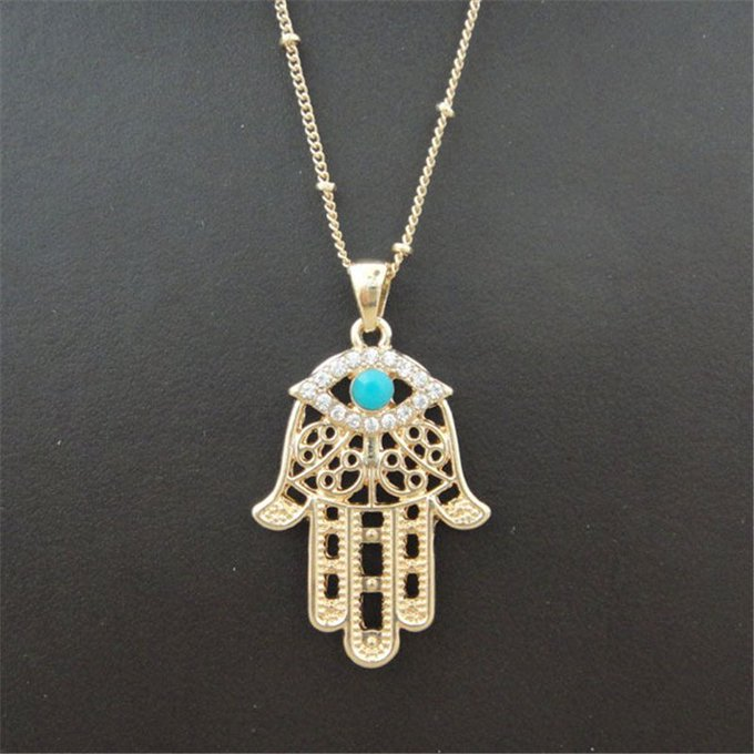 Golden Necklaces with Hand Shaped Pendants