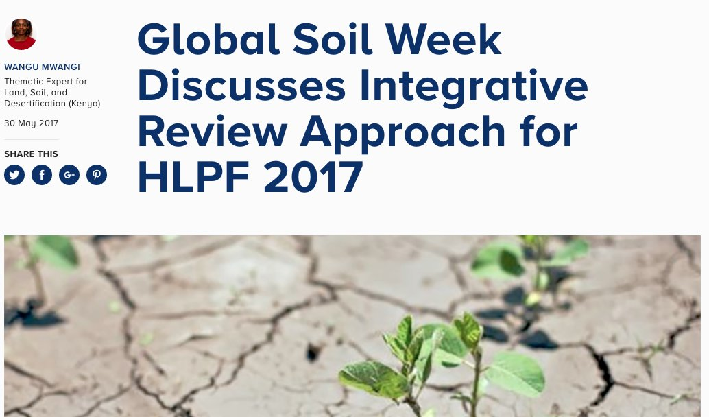 IISD Report on this years #GlobalSoilWeek! https://t.co/S4cdvwttU1 #ThemeSoil #GSW17 #HLPF2017 #2030Agenda https://t.co/yaTDQtQPlO