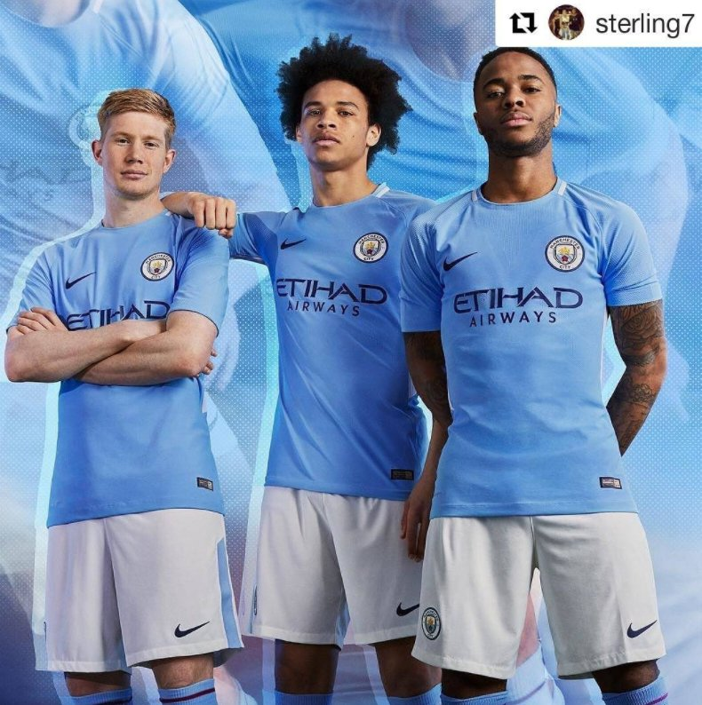 6fa0936821d manchester city have unveiled their new home kit for 2017 18 via ig  sterling7