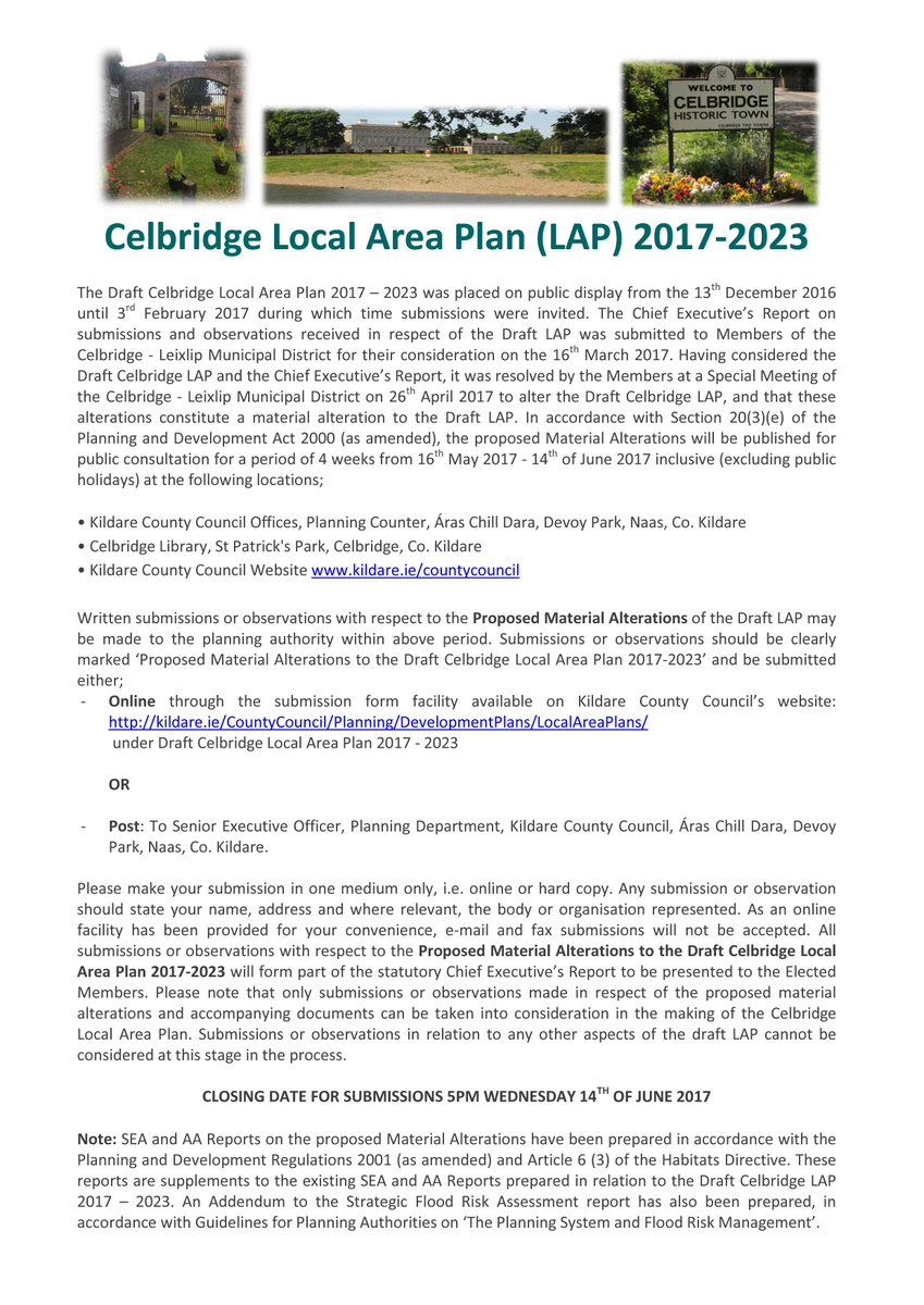 Chief Executives Report for Draft Celbridge LAP - potteriespowertransmission.co.uk
