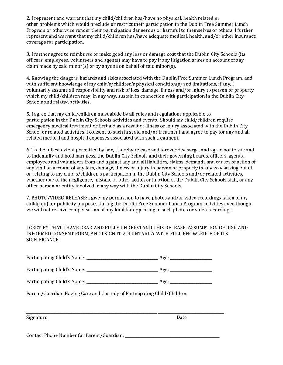 Dublin City Schools on Twitter DWEdublin summer lunch program – Video Consent Form