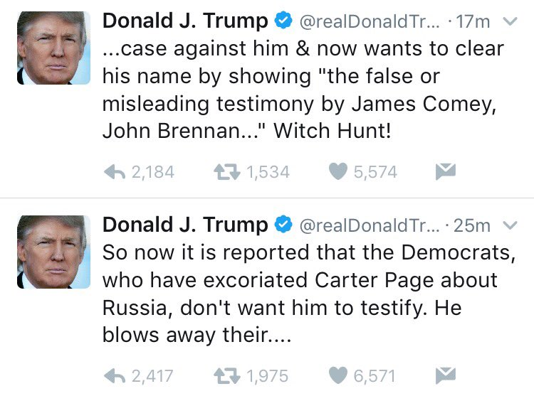 .@POTUS, appreciate suggestion on witnesses but feel you may not have probe's interests at heart. Ex: Firing FBI Dir because of Russia probe