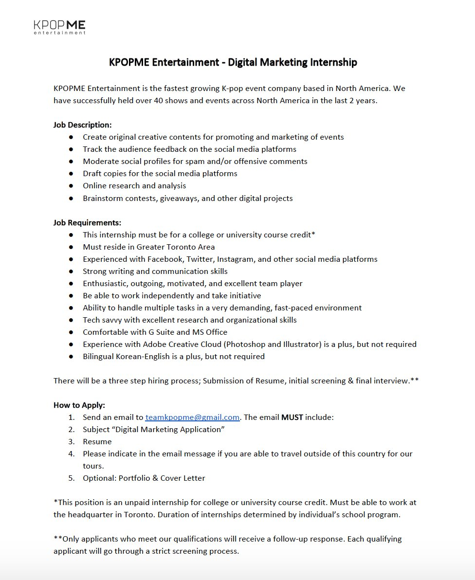 Kpopme On Twitter Kme Internship All Details Are In The Attached
