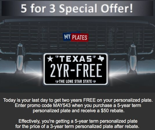 My Plates Texas >> Myplates Com On Twitter Last Day May543 Promo Code 2