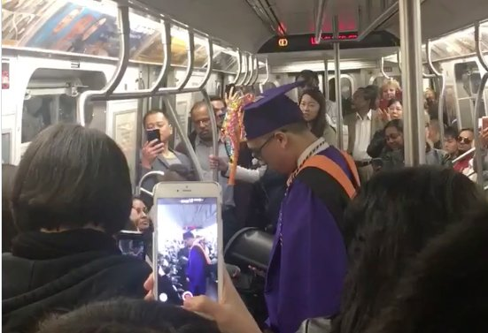 This poor guy missed his graduation because his train was delayed, so his subway car threw him one.  ❤️  this city. https://t.co/0V6Yk7vht3