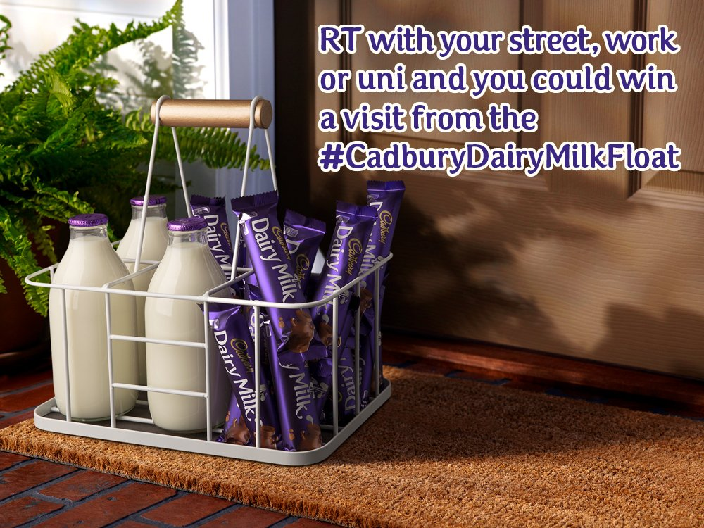 The #CadburyDairyMilkFloat is making rounds soon! RT for a chance to win a delivery! T&Cs:https://t.co/aOt5q5NjZ8 https://t.co/rTXZYzV4Zf