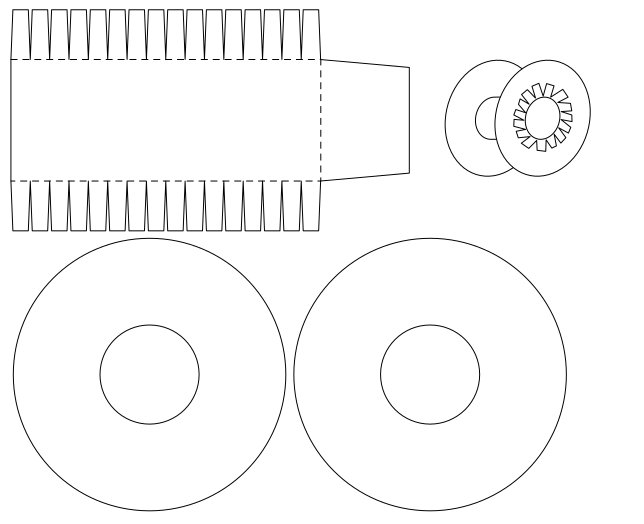 More mock-ups and drawings for a cardboard spool that will come with #BoldportClub project 'Spoolt'
