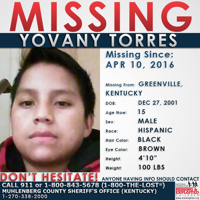 #MISSING Yovany was last seen on April 10, 2015. He may travel to #Kentucky, #Tennessee, or #NewYork.<br>http://pic.twitter.com/y33Y4bNaeW