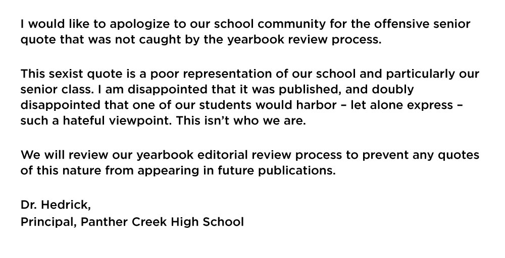 """Offensive Quotes Entrancing Thepanthercreek On Twitter """"response From Principal Hedrick"""