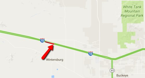 Wintersburg : eastbound Wintersburg crash blocking left lane ... on interstate 27 map, interstate 422 map, i-10 map, lincoln way map, interstate 4 map, interstate 20 map, texas map, interstate 70 map, interstate 421 map, highway 82 map, interstate 8 map, interstate 81 map, i-70 colorado road map, interstate 80 map, interstate 5 map, interstate 25 map, interstate 75 map, interstate i-10,