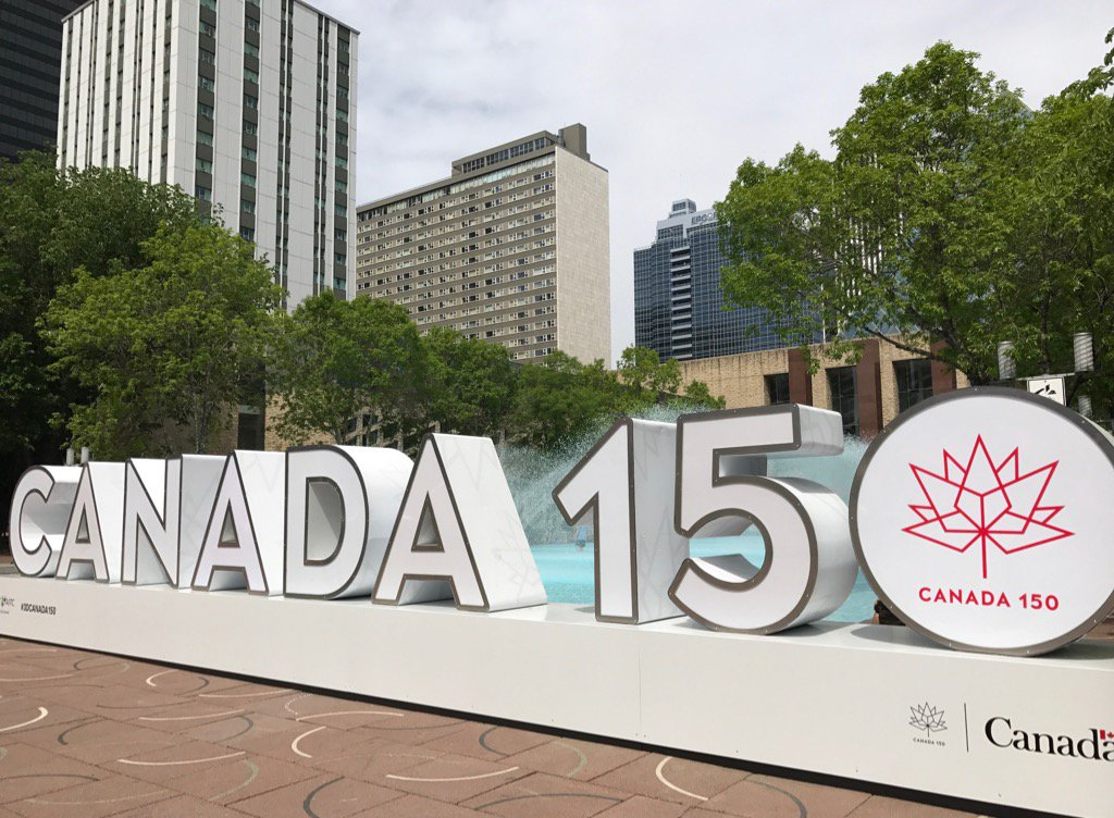 Image result for Edmonton City Hall Canada 150 Sign
