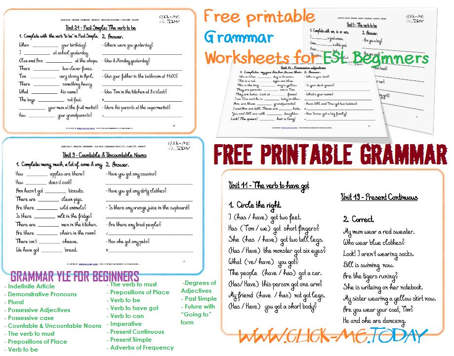 Clickmetoday On Twitter Free Printable Esl Grammar. Free Printable Esl Grammar Worksheets For Beginners English Uk Usa Canada Efl. Worksheet. Correct Grammar Worksheets At Mspartners.co
