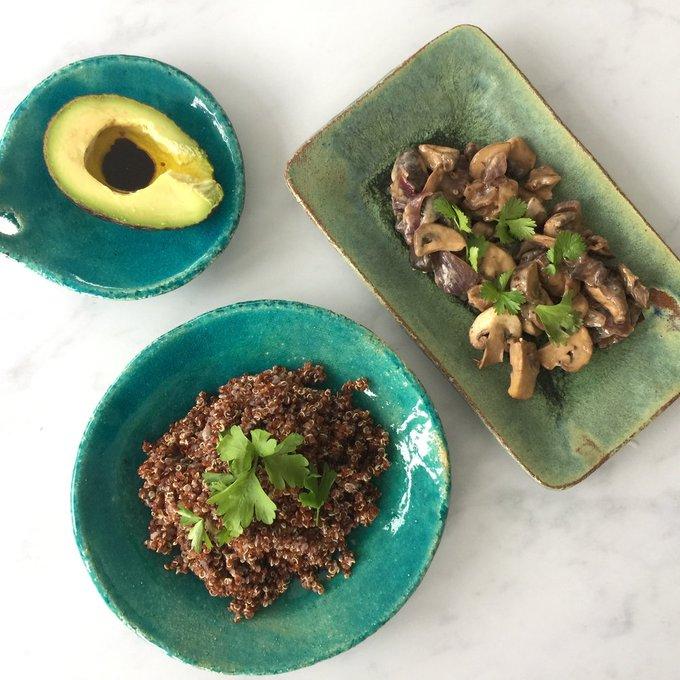 A quinoa mushroom risotto.