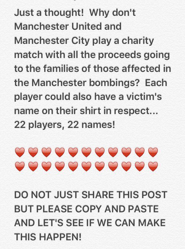 Just been sent this by my pal, great idea if it could be done? @ManUtd @ManCity