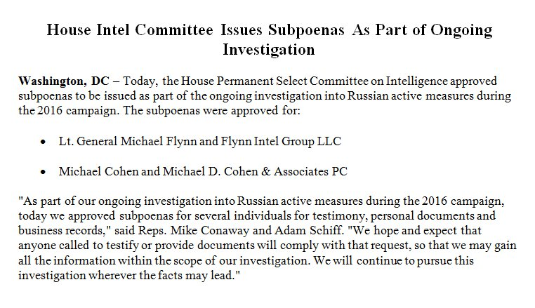 .@ConawayTX11 & I approved subpoenas for interviews/documents from Michael Flynn, Michael Cohen & related businesses as part of Russia probe
