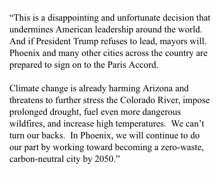 Phoenix is prepared to #ActOnClimate and sign the #ParisAccord if President Trump withdraws. My statement: https://t.co/4VQ7ia28U8