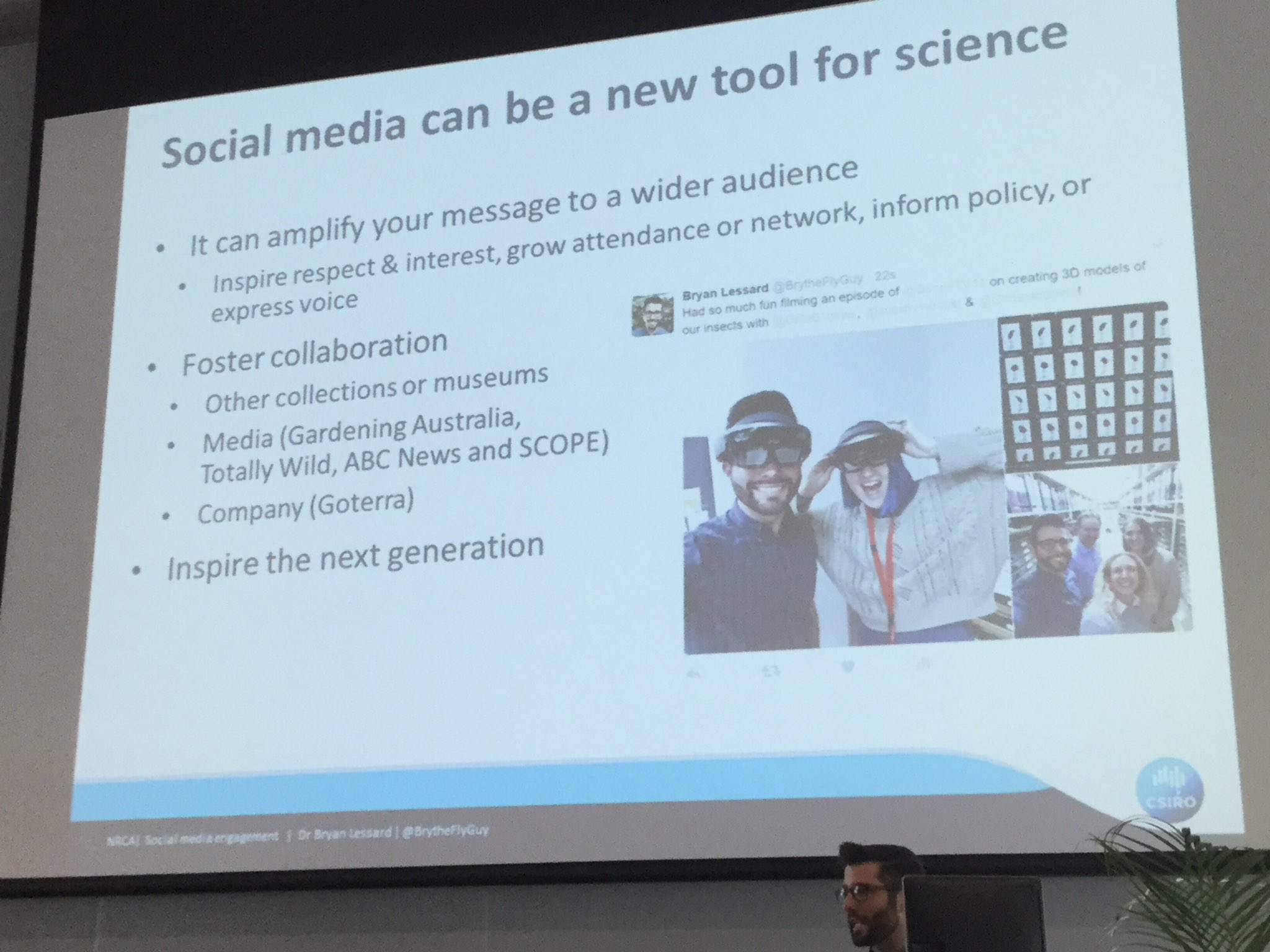 #social media for #science can promote collaboration and inspire next generations @BrytheFlyGuy #OOTB https://t.co/Ixn6hvPEB5