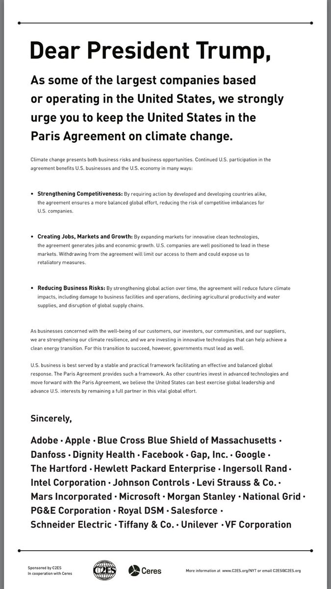 Dear President Trump, as some of the largest companies in the US, we strongly urge you to keep the US in the Paris Agreement.